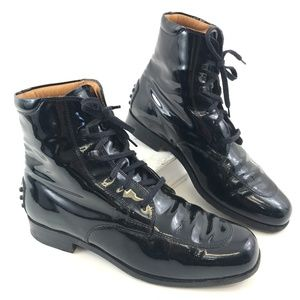 EUC Tod's Black Patent Leather Oxford Boots 35.5